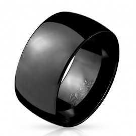 Large bague anneau pour homme acier inoxydable toute noire bombée 10mm