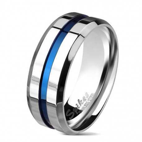 Bague anneau homme acier poli bicolore rainure bande centrale bleu