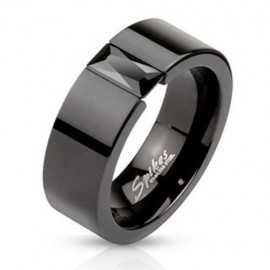 Bague anneau de fiançailles couple femme homme acier et pierre noire