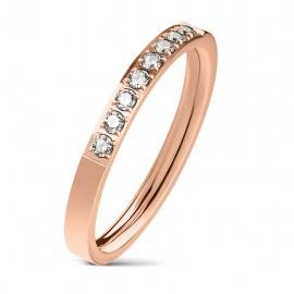 Bague anneau de fiançailles femme acier cuivré et 8 pierres zircons