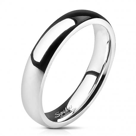 Bague anneau alliance de mariage femme homme acier poli miroir 4mm