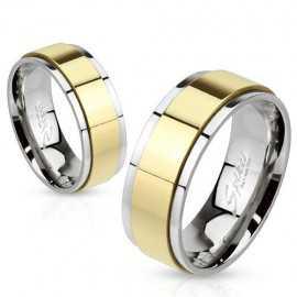 Bague anneau couple homme femme acier couleur or spin tournante
