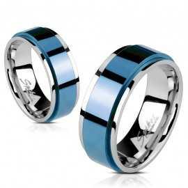 Bague anneau bleu homme femme acier bords couleur argent rotative spin