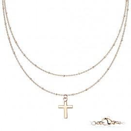 Parure femme chaine double ras de cou à pendentif croix en acier cuivré