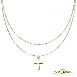 Parure femme chaine double ras de cou à pendentif croix en acier doré