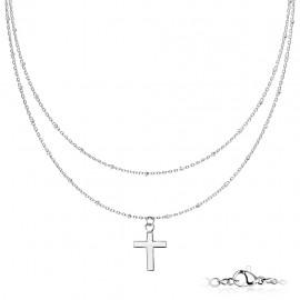 Parure femme fine chaine double ras de cou à pendentif croix en acier