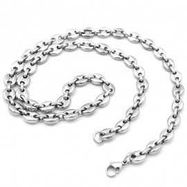 Chaine collier pour homme maille en grains de café acier 60cm 10mm
