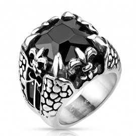 Bague chevalière homme en acier pierre noire onyx fleur de lys griffe dragon