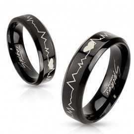 Bague anneau femme homme acier noire battement de cœur saint valentin