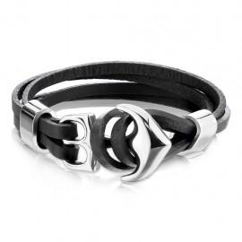 Bracelet homme en cuir tressé multiples liens avec fermoir ancre marine acier inoxydable réglable