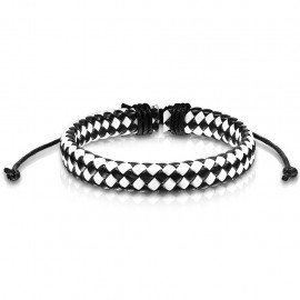 Bracelet réglable pour homme en cuir couleur damier noir et blanc 19cm