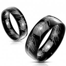 Bague femme homme acier noir seigneur des anneaux lord of the ring