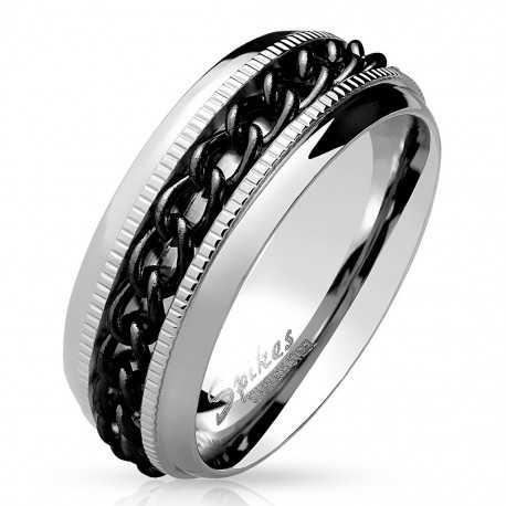 Bague anneau pour homme en acier chaine plaqué noire anti-stress spin