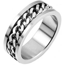 Bague anneau de fiançailles homme femme acier chaine rotative anti-stress