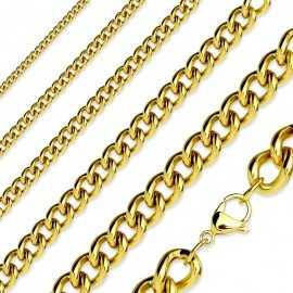 Chaine collier homme acier inoxydable doré maille cubaine pas cher