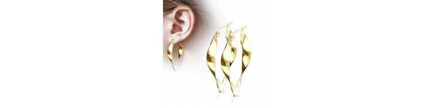 Boucles d'oreilles pour femme acier pas cher ronde carré | roidubijou